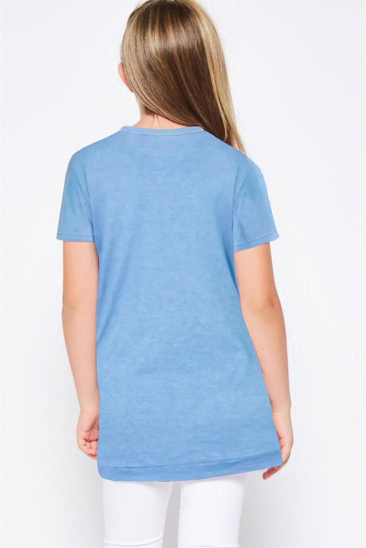 天蓝色宽松可爱纽扣装饰小女孩舒适T恤衫 TZ25152