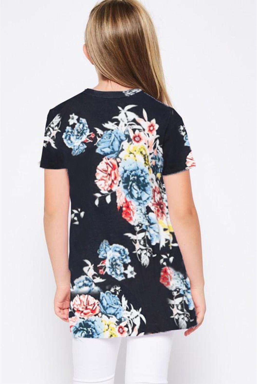 休闲宽松可爱花卉扭纹女童圆领短袖T恤衫 TZ25149