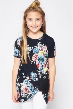 休闲宽松可爱花卉扭纹女童圆领短袖T恤衫