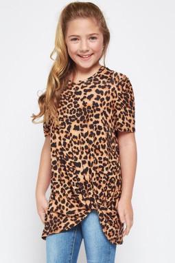 休闲宽松经典豹纹扭纹女童圆领短袖T恤衫