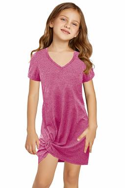 粉色简约休闲小女孩V领短袖扭褶T恤迷你裙