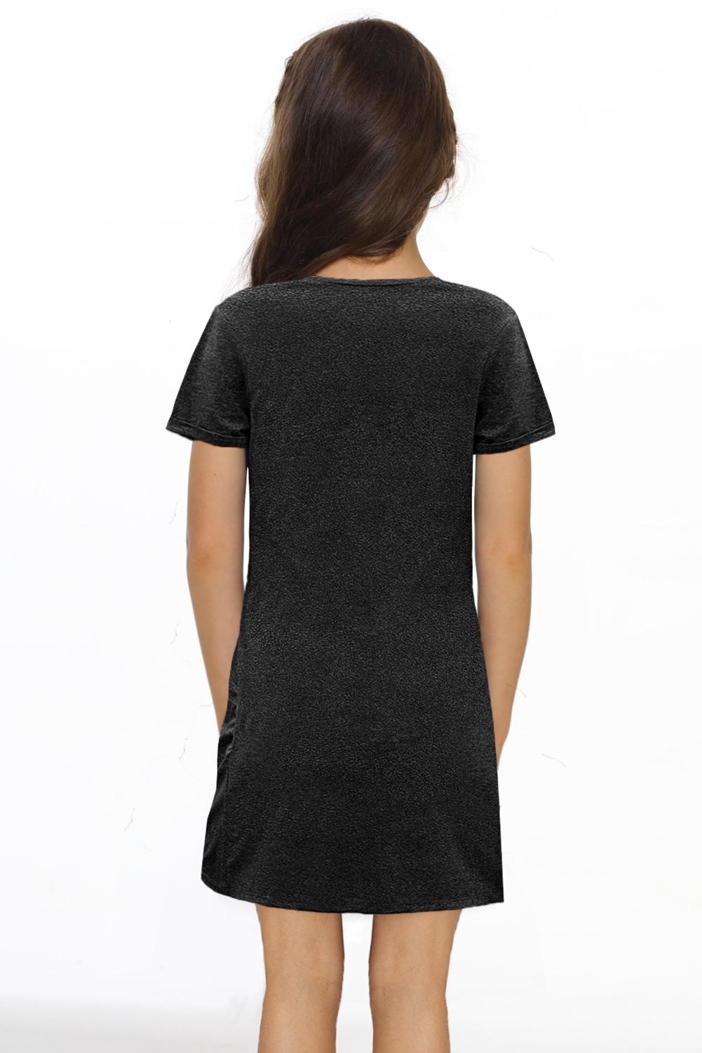 黑色简约休闲小女孩V领短袖扭褶T恤迷你裙 TZ61107