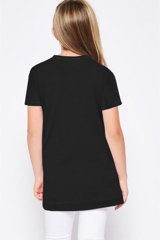 黑色宽松可爱纽扣装饰小女孩舒适T恤衫 TZ25152