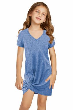 蓝色简约休闲小女孩V领短袖扭褶T恤迷你裙