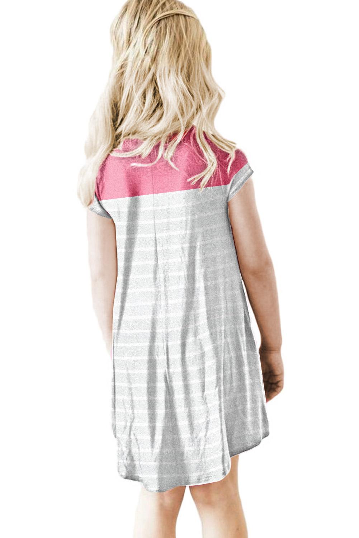玫红拼色条纹圆领短袖舒适可爱小女孩连衣裙 TZ61105