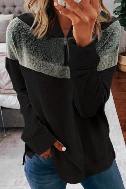 黑色舒适绒毛拼色长袖休闲时尚连帽衫