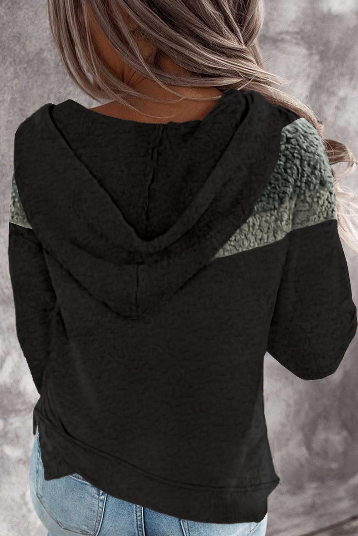 黑色舒适绒毛拼色长袖休闲时尚连帽衫 LC2533718