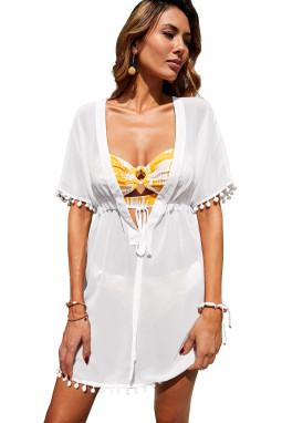 白色深V领绒球流苏腰间抽绳设计度假沙滩裙