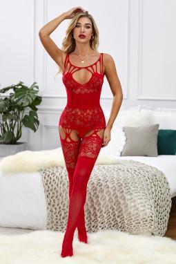 红色感性午夜镂空蕾丝连体袜