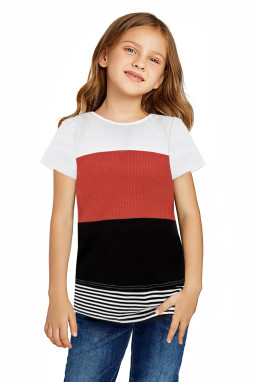 可爱拼色条纹小女孩宽松舒适短袖T恤衫