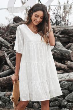 白色V领短袖可爱娃娃风蕾丝提花迷你连衣裙