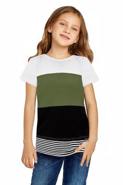绿色拼色条纹小女孩宽松舒适短袖T恤衫
