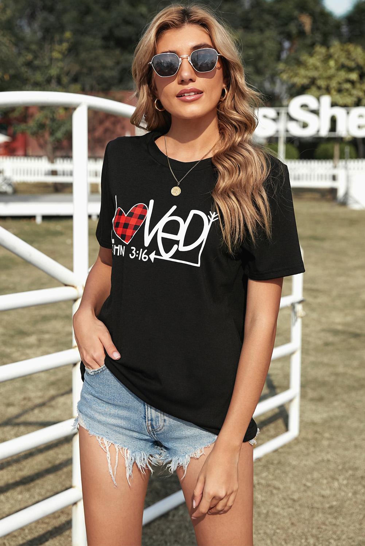 黑色浪漫情人节格纹爱心休闲宽松短袖T恤衫 LC2522685