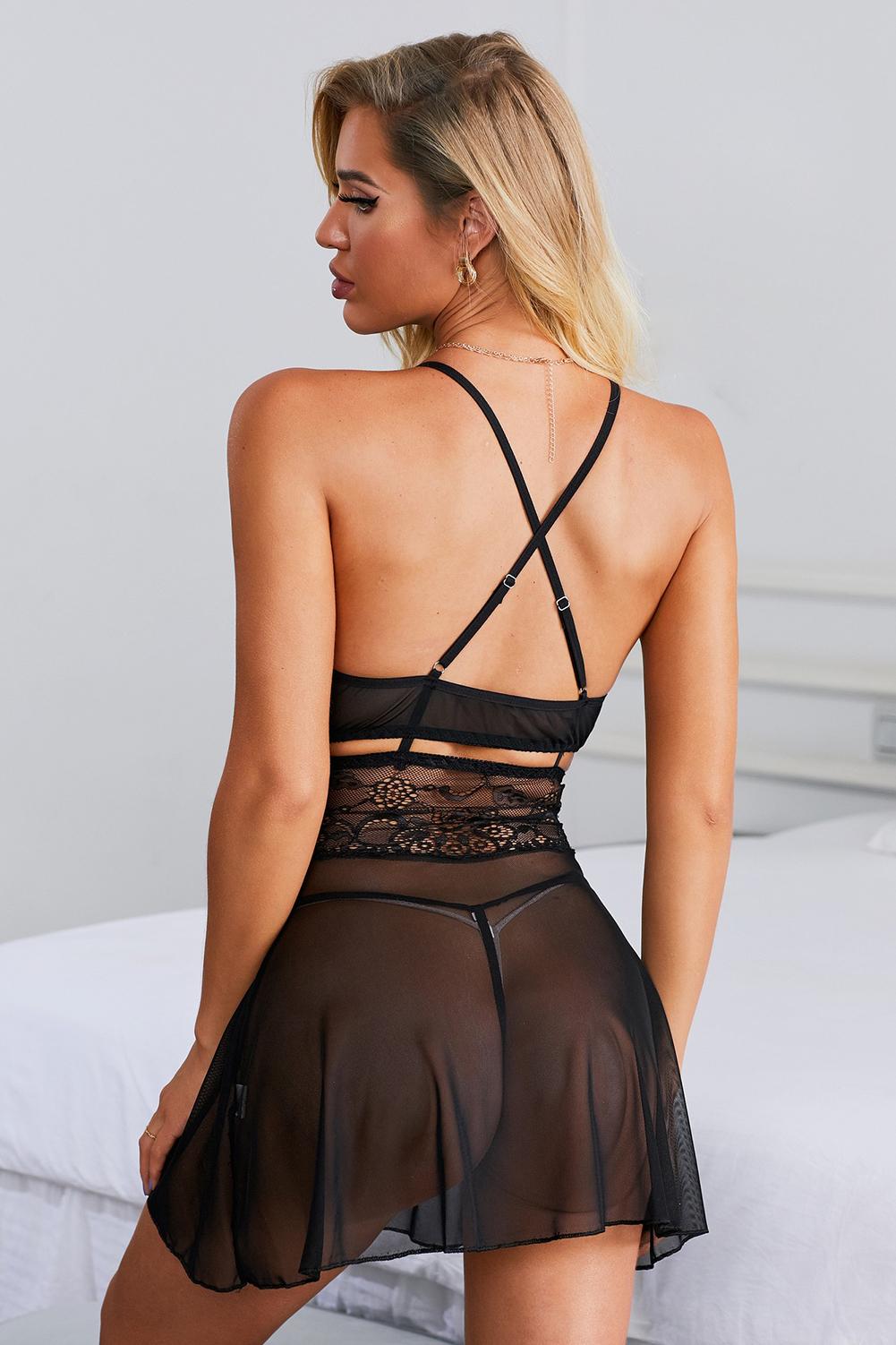 黑色浪漫午夜性感蕾丝睡裙和丁字裤套装 LC31524