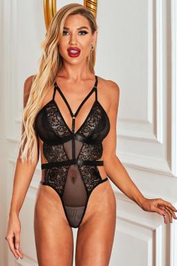黑色系带镂空奢华浪漫蕾丝连体内衣