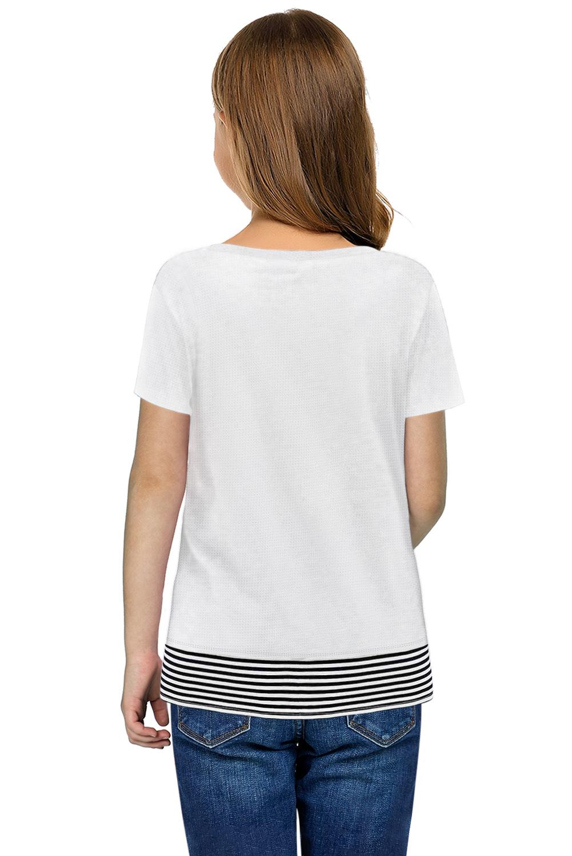 绿色拼色条纹小女孩宽松舒适短袖T恤衫 TZ25174