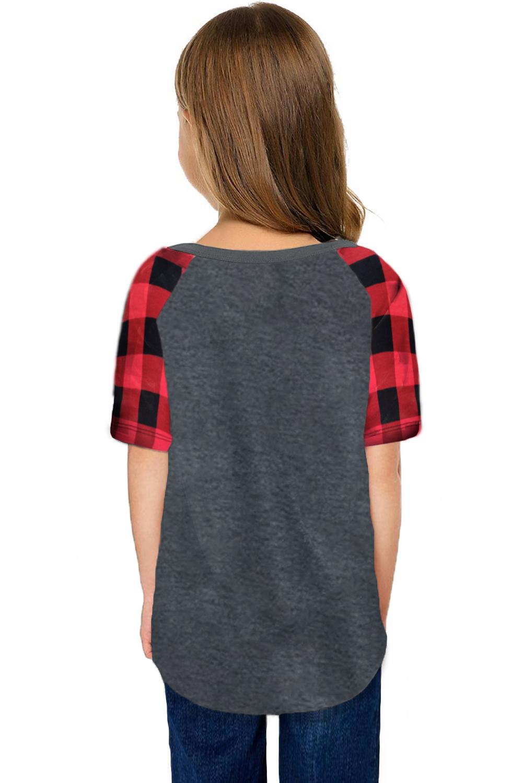 休闲流行格纹插肩袖灰色短袖舒适女童T恤衫 TZ25233