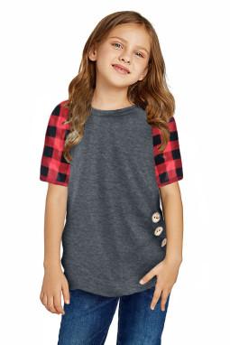休闲流行格纹插肩袖灰色短袖舒适女童T恤衫