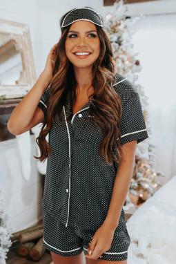深灰色宽松点缀缎面短袖衬衫短裤睡衣套装 LC451898
