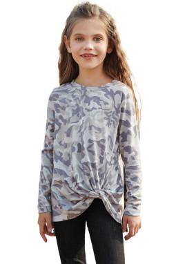 迷彩印花时尚可爱扭结女孩舒适长袖上衣