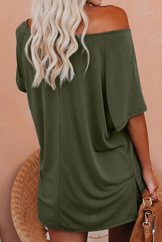 绿色插肩袖上衣抽绳短裤宽松舒适针织休闲服套装 LC4511177