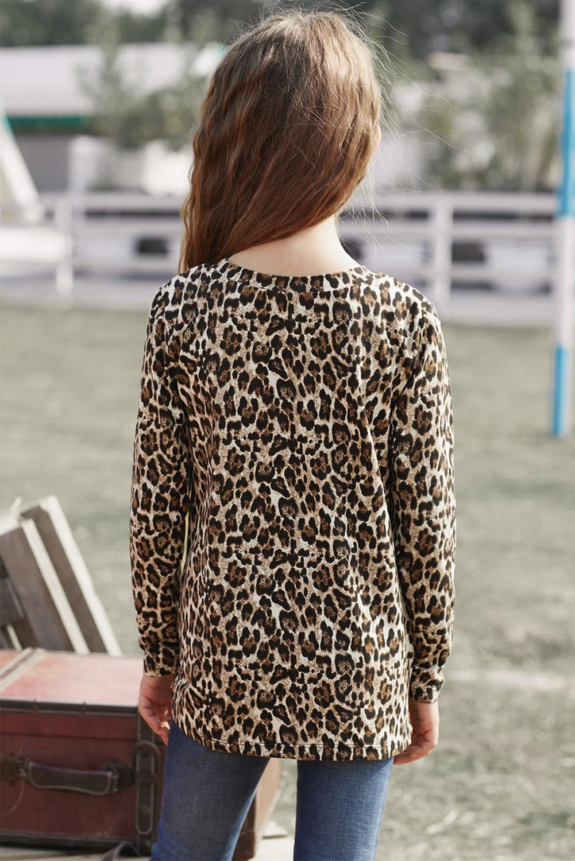 豹纹印花时尚可爱扭结女孩舒适长袖上衣 TZ25145