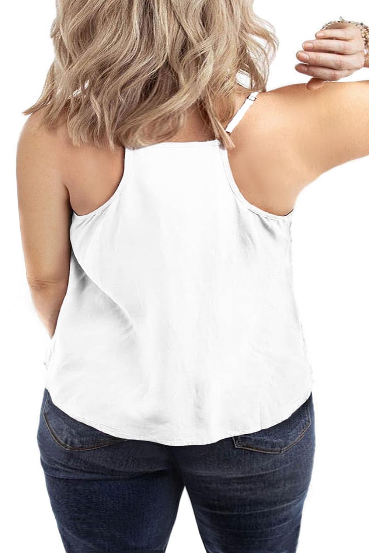 白色加大码刺绣领口性感无袖夏季背心 LC25585