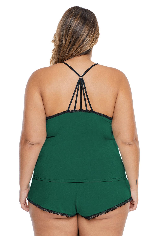 绿色加大码睡衣吊带短裤家居套装 DLM43124