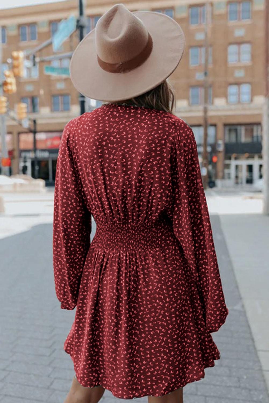 红色V领气球袖高腰可爱迷你连衣裙 LC223091
