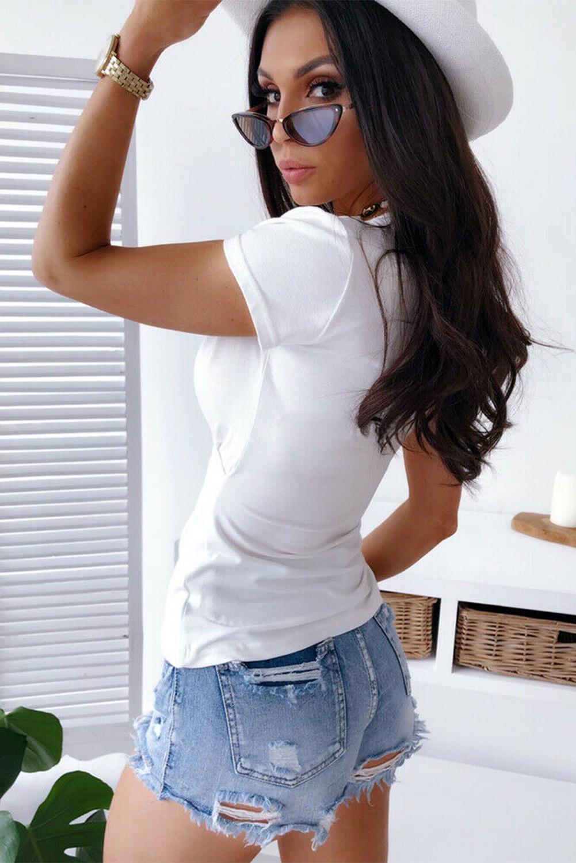 白色时尚休闲弹性舒适包裹式V领短袖女士T恤 LC2522745