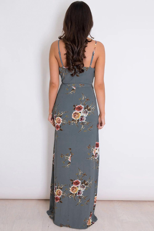 灰色优雅V领吊带碎花裹身开衩时尚连衣长裙 LC613539