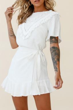 白色时尚休闲流苏装饰短袖绑腰优雅迷你裙