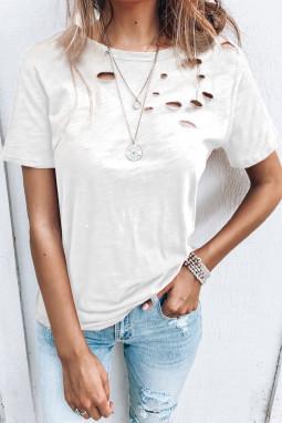 白色圆领短袖破洞设计休闲女士T恤衫